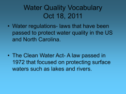 Water Quality Vocabulary Oct 18, 2011