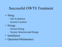 Factors Affecting OWTS Performance