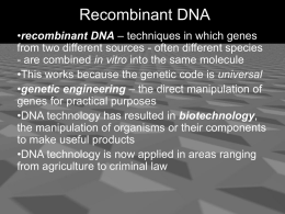 recombinant DNA - Cloudfront.net