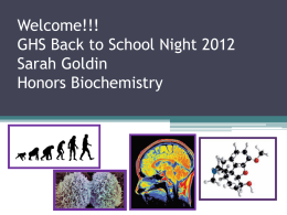 Welcome!!! GHS Back to School Night 2010