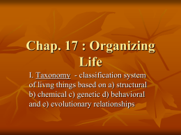 Chap. 18 : Organizing Life - Fort Thomas Independent Schools