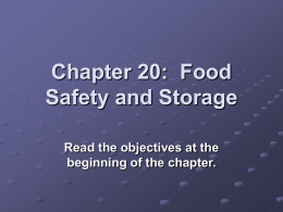 Chapter 20: Food Safety and Storage