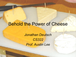 The History of Cheese - Jonathan S. Deutsch, English/Theatre Arts