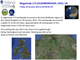 Magnitude 2.9 LOUGHBOROUGH, LEICS, UK Friday, 18 January