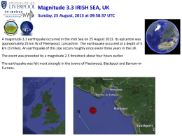 Magnitude 3.3 IRISH SEA, UK Sunday, 25 August, 2013 at 09:58:37