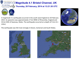 Magnitude 4.1 Bristol Channel, UK Thursday, 20 February, 2014 at