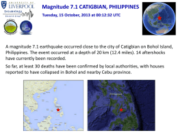 Magnitude 7.1 CATIGBIAN, PHILIPPINES Tuesday, 15 October