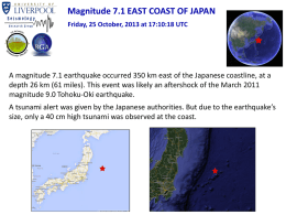 Magnitude 7.1 EAST COAST OF JAPAN Friday, 25 October, 2013 at