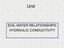 Soil-Water Relationships Hydraulic Conductivity