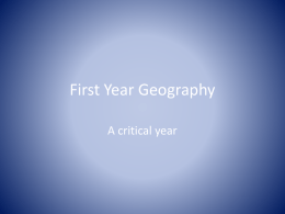 Exploring First Year Geography