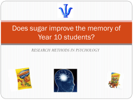 Does sugar improve the memory of Year 10 students?