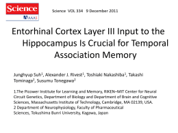 Entorhinal Cortex Layer III Input to the Hippocampus Is