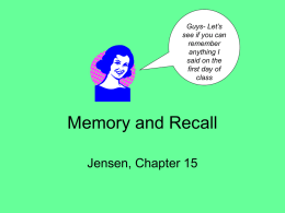 Memory and Recall