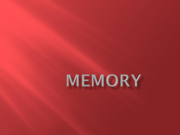 Memory and Cognition PowerPoint