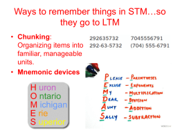 Ways to remember things in STM…so they go to LTM
