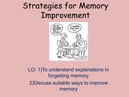 Stratagies for memory improvement L4