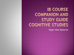 IB Course Companion Cognitive Studies