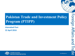 Pakistan Trade and Investment Policy Program (PTIPP)
