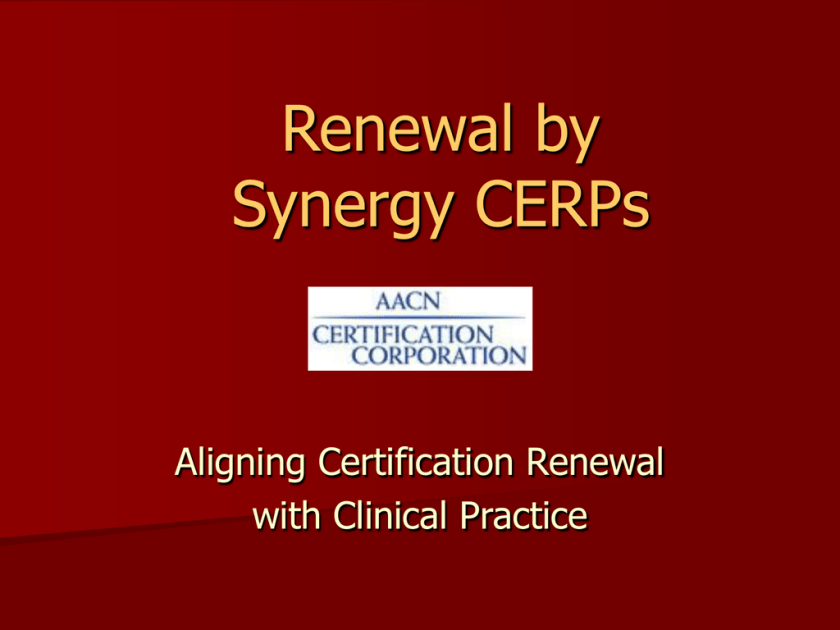 Renewal By Synergy Cerps Studyslide