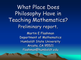 What Place Does Philosophy Have in Teaching Mathematics