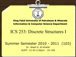 ICS 353: Design and Analysis of Algorithms