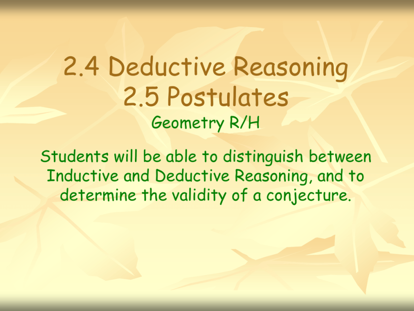 2425 Deductive Reasoning and Postulates PPT – Inductive and Deductive Reasoning Worksheet