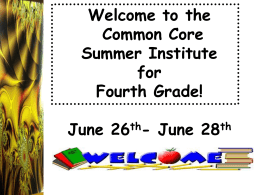 4th Grade Day 3 Common Core Institute