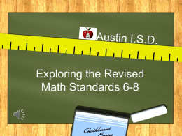 Exploring the Revised Math Standards 6-8 - Curriculum
