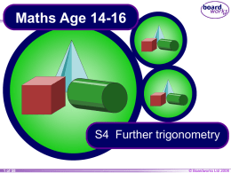 S4 Further trigonometry
