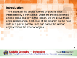 1.8.2 Angles Formed by Parallel Lines and Transversals
