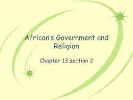 African`s Government and Religion