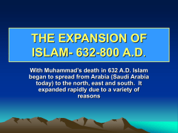the expansion of islam- 632-800 ad