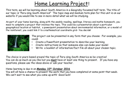 Home learning * changes for after Easter