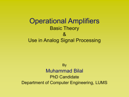 Operational Amplifiers Basic Theory & Use in