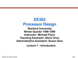 EE 382 Computer Organization and Design