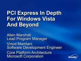 PCI Express In Depth for Windows Vista and Beyond