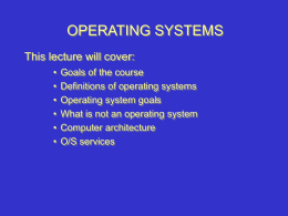 Lecture 1 - Computer Science Department
