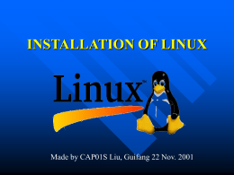 INSTALLATION OF LINUX