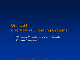 Unit OS1: Windows Operating Systems Internals