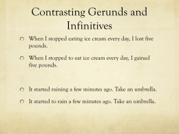 Contrasting Gerunds and Infinitives