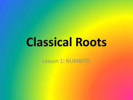 Classical Roots lesson 1
