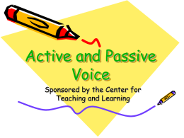 Active and Passive Voice - University of Illinois Springfield