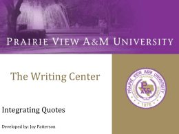 The Writing Center - Prairie View A & M University