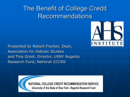 The Benefit of College Credit Recommendations