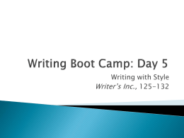 Writing Boot Camp: Day 3