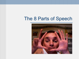 Basic 8 Parts of Speech PPT