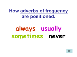 How adverbs of frequency are positioned. always usually sometimes