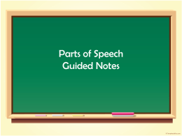Parts of Speech Guided Notes