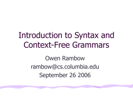 What is Syntax? - Columbia University