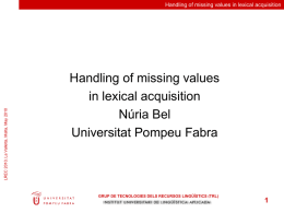 Handling of Missing Values in Lexical Acquisition